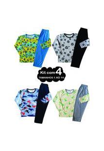 Kit 4 Pijama 1 Ao 14 Infantil Juvenil Menino Algodão Inverno Multicolorido