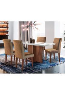Conjunto De Mesa De Jantar Berlim I Off White Com 4 Cadeiras Grécia Suede Chocolate E Café