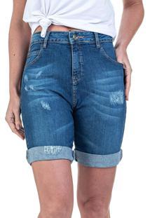 Bermuda Jeans Bloom Ciclista Elastano Azul