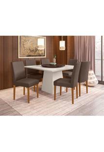 Conjunto De Mesa De Jantar Com Tampo Giratório Jasmin E 6 Cadeiras Heloise Veludo Off White E Café