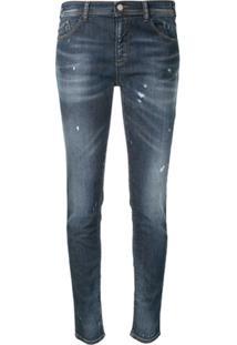 Emporio Armani Jaqueta Jeans Skinny Com Efeito Destroyed - Azul
