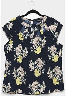 Blusa Lemise Plus Size Floral Guipir Feminina - Feminino-Marinho