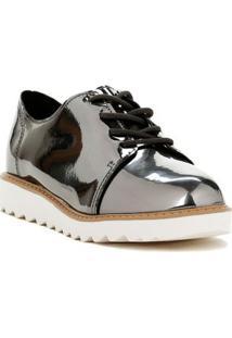 Sapato Metalizado Molekinha Infantil Para Menina - Chumbo