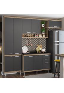 Cozinha Compacta 9 Portas 3 Gavetas Sicilia 5841 Premium Argila/Grafite - Multimóveis