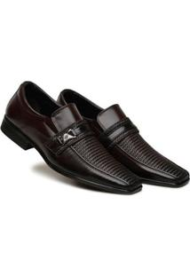 Sapato Social Masculino Textura Elástico Macio Confortável - Masculino-Marrom