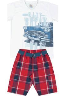 Conjunto Xadrez Vermelho Infantil Menino Meia Malha Sarjas - Masculino-Branco