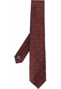 Emporio Armani Gravata Com Estampa Geométrica - Vermelho