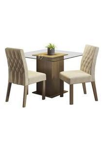 Conjunto Sala De Jantar Madesa Tati Mesa Tampo De Vidro Com 2 Cadeiras Rustic/Imperial Rustic