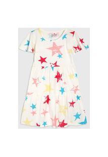 Vestido Brandili Infantil Estrelas Off-White