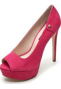 Peep Toe Couro Jorge Bischoff Confort Pink