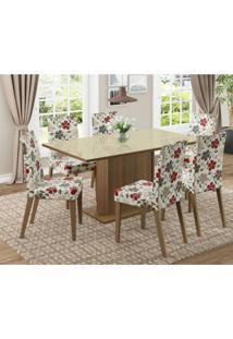Conjunto De Mesa Com 6 Cadeiras Vivere Rustic E Hibiscos