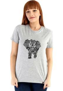 Baby Look Ouroboros Manga Curta Elefante - Feminino-Cinza