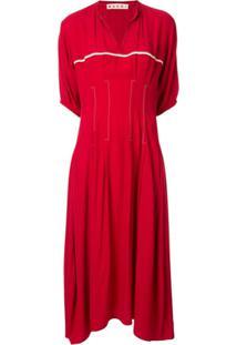 Marni Vestido Evasê Mangas Curtas - Vermelho