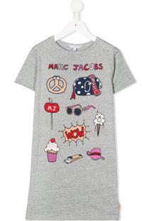 Little Marc Jacobs Vestido Reto Com Estampa De Cartoon - Cinza