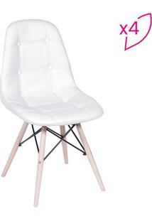 Jogo De Cadeiras Eames Botonãª- Branco & Bege- 4Pã§S