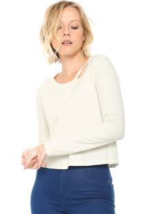 Camiseta Calvin Klein Jeans Recorte Off-White