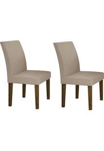Conjunto Com 2 Cadeiras Olímpia Ipê E Veludo Palha