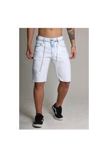 Bermuda Jeans Masculina Rasgada Destroyed Azul 339
