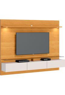 Estante Para Home Theater E Tv Até 60 Polegadas Vidratto Nature E Off White 218 Cm