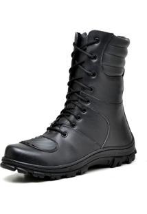 Bota Motoqueiro Militar Cano Alto Em Couro Gaspariano Calçados Preto