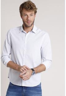 Camisa Social Masculina Comfort Fit Listrada Manga Longa Branca