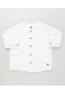 Camisa Infantil Listrada Manga Longa Branca