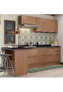 Cozinha Compacta Calábria 7 Portas Com Tampo E Rodapé Nogueira/Malt - Multimóveis