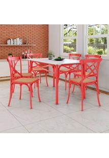 Conjunto De Mesa De Jantar Com 6 Cadeiras E Tampo De Madeira Katrina Vermelho