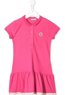 Moncler Kids Vestido Com Acabamento De Babados - Rosa