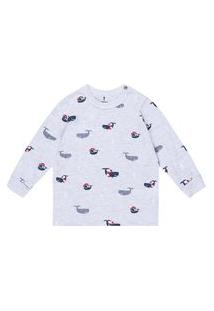 Conjunto Pijama Baleias Mescla Claro Onda Marinha Multicolorido
