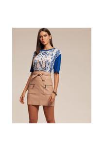 T-Shirt Acostamento Estampada Azul