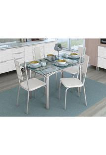 Conjunto De Mesa Com 4 Cadeiras Mathaios Cromado E Branco