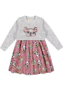 Vestido Infantil Em Moletom Rovitex Trick Nick Com Blusão Cinza/Rosa - 4