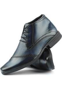 Bota Social Com Cadarço Touro Boots Masculina Azul - Kanui