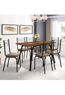 Conjunto De Mesa Com 6 Cadeiras Lotus Preto Fosco Com Rattan
