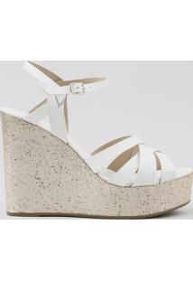 Sandália Plataforma Feminina Metalizada Branca