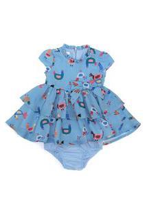Vestido / Calcinha Infantil / Baby Em Voil Rustic Com Flame Com Poliester Estampado - Um Mais Um Azul Claro