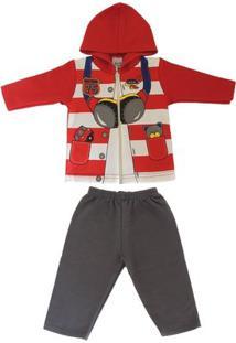 Conjunto Jaqueta E Calça Infantil Teddy Masculino - Masculino-Vermelho+Cinza