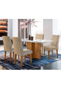 Conjunto De Mesa De Jantar Berlim Iii Com Vidro 4 Cadeiras Grécia Suede Chocolate E Off White