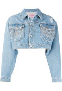 Chiara Ferragni Jaqueta Jeans Cropped Com Franjas - Azul
