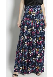 Saia Longa Floral- Azul Marinho & Rosa- Linho Finolinho Fino