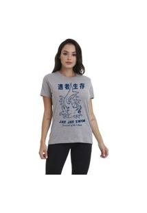 Camiseta Jay Jay Basica Japan Shark Cinza Mescla Dtg