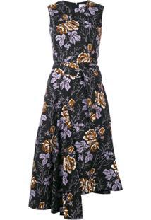 Victoria Beckham Vestido Com Estampa Floral - Preto