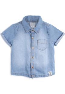 Camisa Jeans Hering Kids Menino Liso Azul
