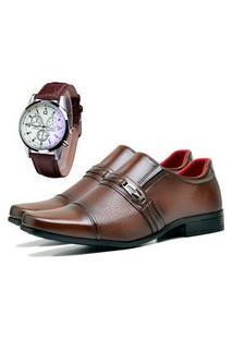Sapato Social Urbano Com Relógio Masculino Dubuy 821Db Marrom