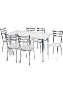 Conjunto De Mesa Com 6 Cadeiras Adriana Prata E Branco