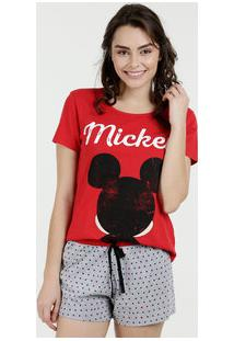 Pijama Feminino Short Doll Estampa Mickey Disney