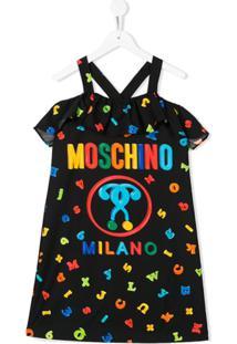 Moschino Kids Vestido Com Estampa De Letra - Preto