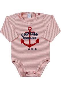 Body Bebê Cotton Listrado Gatinha - Feminino-Vermelho
