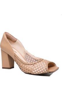 Sapato Zariff Peep Toe Salto Grosso